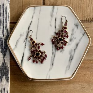 Maroon & Gold Colored Drop Earrings